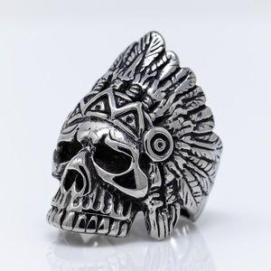 Indian Chief Skull Biker Ring